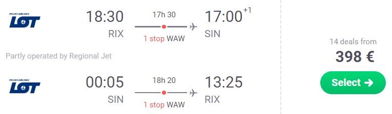 Lēti lidojumi uz SINGAPŪRU no Rīgas