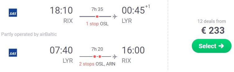 Lēti lidojumi uz SVALBĀRU no Rīgas