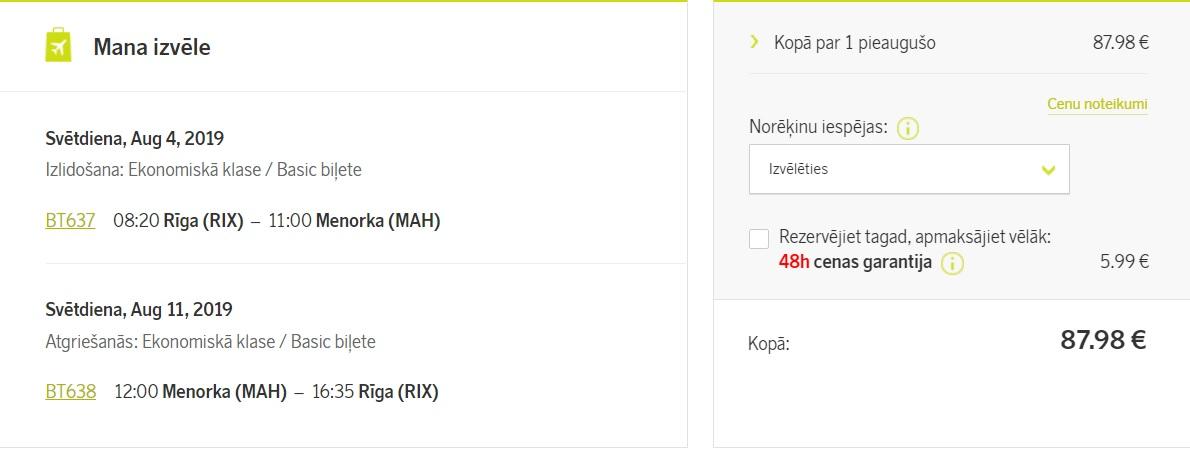 lēti lidojumi uz MENORKU no Rīgas