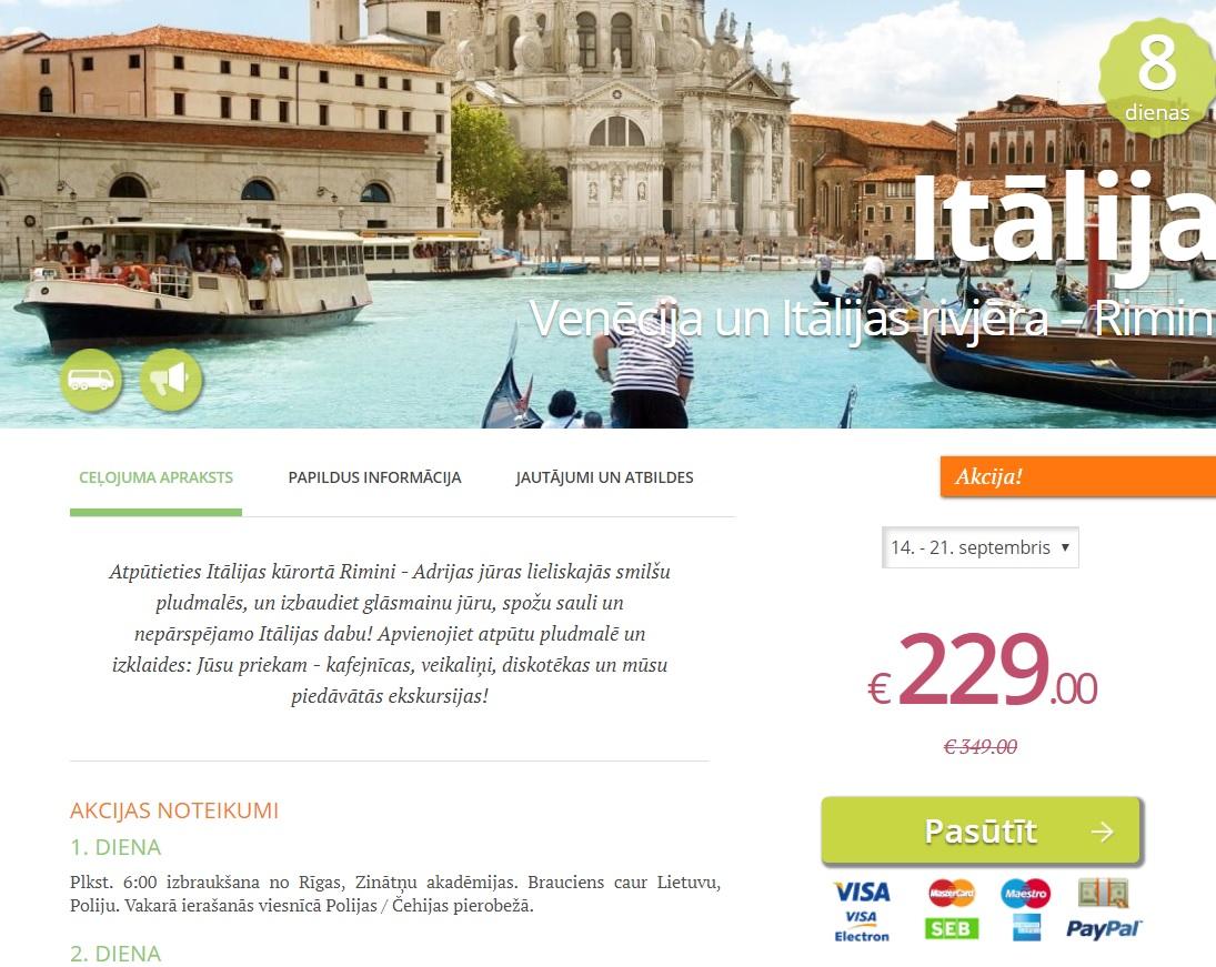 brauciens uz ITĀLIJU Venēcija un Itālijas rivjēra Rimini