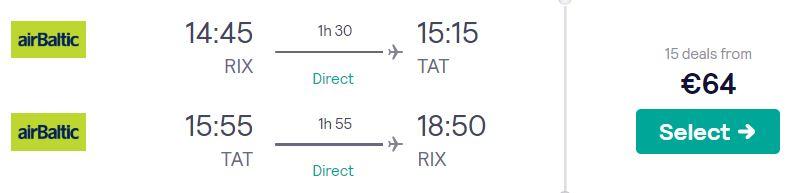 Lēti lidojumi uz TATRIEM no Rīgas