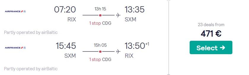 Lēti lidojumi uz Sintmārtenu no Rīgas