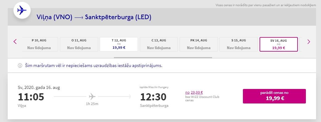 wizz air lidos no viļņas uz sanktpēterburgu